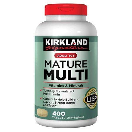 Kirkland Signature Mature Multi Vitamins & Minerals with Lycopene and Lutein 400 Tablets - Compare to Centrum Silver (Original Version)