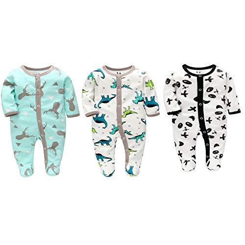 LAT LEE AND TOWN Baby Schlafanzug Schlafstrampler Schlafsack Gr. 56 62 68 Baumwolle mit Füßen mit knöpfen für Junge Mädchen Neugborene 0-6 Monate (Hirsch/Dinosaurier/Panda, 68)