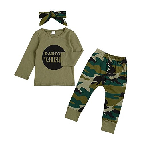 GRNSHTS Baby Kids Family Matching Clothes Set Camouflage Short Sleeve T-Shirt Tops Long Pants Set (80/6-12 Months, Daddy's Girls(Long))
