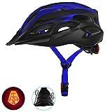 MGIZLJJ Casco Bicicleta con Luz LED, Certificación CE,con Desmontable Visera Casco de Bicicleta de montaña Ajustable Ligera Unisex Cascos Bici Adultos para Montar Ski & Snowboard F