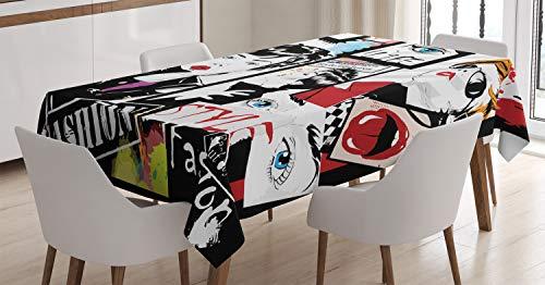 ABAKUHAUS Féminin Nappe, Moderne Fashion Girl, Linge de Table Rectangulaire pour Salle à Manger Décor de Cuisine, 140 cm x 170 cm, Noir...