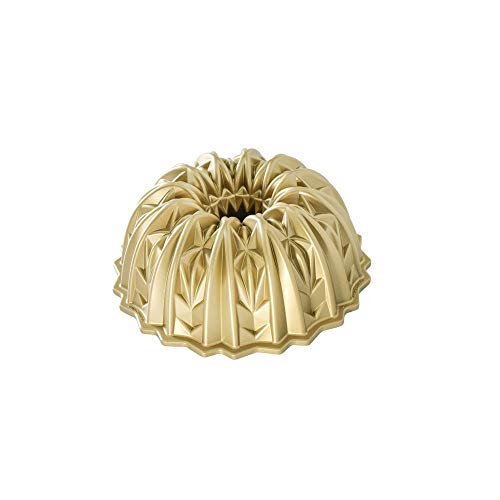 Nordic Ware Cut Crystal Cast Bundt Pan, 10 Cup Capacity, Gold