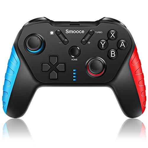 Smooce Controller per Nintendo Switch,pro controller Switch wireless con giroscopio a 6 assi,Turbo regolabile,doppia vibrazione motore,Compatibilità multipiattaforma,joystick Nintendo Switch giochi