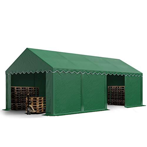 TOOLPORT Stabiles Lagerzelt Zelthalle 4x8 m in dunkelgrün ca. 550g/m² PVC wasserdicht Weidezelt Unterstand mit Bodenrahmen