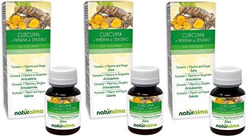 Curcuma + Piperina e Zenzero Naturalma   360 Compresse 95% Curcumina   Articolazioni   Integratore Estratto titolato e Concentr