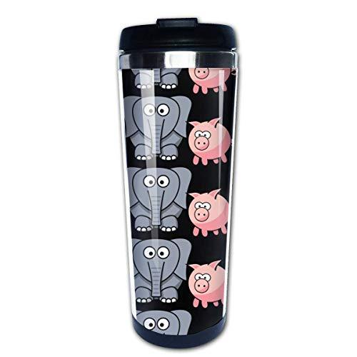 Taza de café de viaje Elephant Pig Taza de café con aislamiento de acero inoxidable Botella de agua deportiva 13.5 Oz (400 ml) MUG-6571