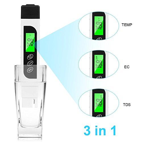 YLANK Wasserqualität Tester, TDS Digital, EC Messgerät und Temperatur Meter 3 in 1, akkurate Bereich 0-9990ppm,Wasser Test Meter für Trinkwasser, Aquarien.