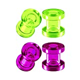 BIG GAUGES 2 Pairs Green Purple Acrylic 2g Gauge 6mm Screw-fit Flesh Tunnels Piercing Jewelry Ear Stretcher Earring Lobe Plugs BG6749