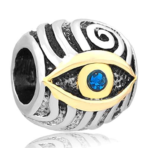 Chyang Blue Crystal Rhinestone Evil Eye Charms Beads Fit Charm Pulsera