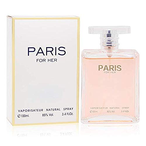 PARIS FOR HER, Eau de Parfum Spray for Women, Perfect Gift, Elegant, Night time & Casual Use, for all Skin Types, 3.4 Fl Oz