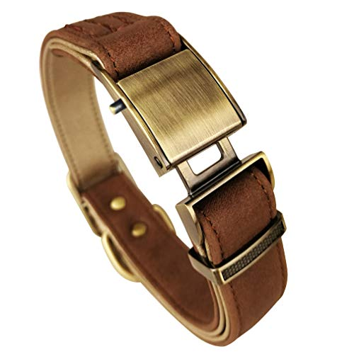 chede Basic Classic Luxury Padded Leather Dog Collar,The Seatbelt Buckle,for Large Medium Small Pets (M, Brown)