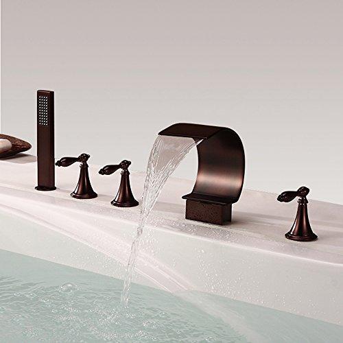 HNBMC Grifo de Lavabo de baño, Cascada Orb Tres Asas Cinco Agujeros grifos de baño, Llave de Lavabo de Cinco Piezas