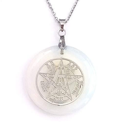 ARITZI - Colgante Redondo de Mineral Natural con símbolo de Tetragrammaton y Cadena de 50 cm en Acero - Opalina