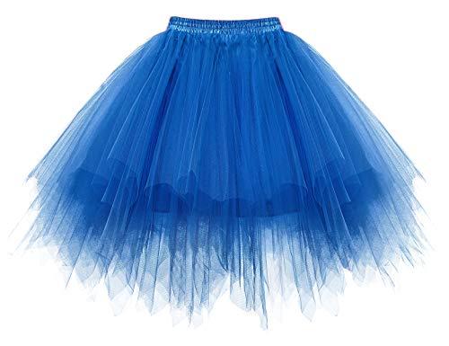 Homrain Mujer Faldas Tul Enaguas Tutu Enagua Underskirt para Rockabilly Vestidos Royalblue S