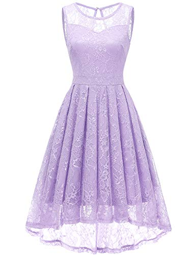 Gardenwed Damen Kleid Retro Ärmellos Kurz Brautjungfern Kleid Spitzenkleid Abendkleider CocktailKleid Partykleid Lavender XL