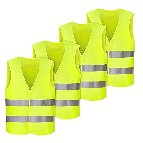 Nakeey Warnwesten, 4 STK Warnweste Auto Pannenweste Warnwesten Gelb Sicherheitsweste Reflektorweste, KFZ Pannenhilfe, Waschbar, Warnwesten für Autofahrern Fahrern Arbeitskräften
