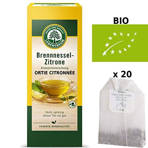 Tisane Ortie Citronnée Bio Urtica Dioica Originale 20 Sachets x 1,5g 'Production Certifiée'   Tisane Ortie Séchée Certifiée Bio Qualité Supérieure - Sans Traces Pesticides OGM - Ortie Piquante Bio