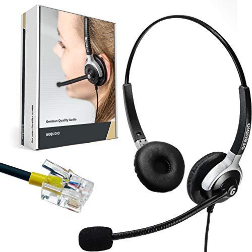 GEQUDIO Headset geeignet für Avaya ®, Mitel ®, Poly (com) ®und Fanvil ® Telefon mit RJ Kabel I Kopfhörer und Mikrofon mit Ersatz Polster I 80g leicht