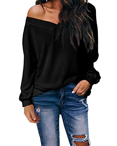 kenoce Jersey Mujer Otoño Suéter Fuera del Hombro Oversize Ancho Tejer Sueter Oversize Pullover Mujer Manga Larga Casual Suelto Blusa G-Nergo S
