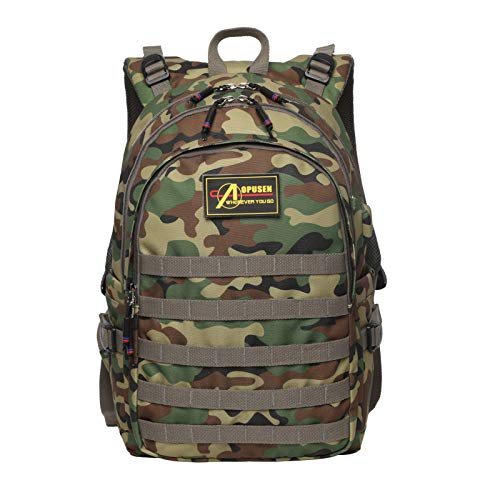 Teens Backpacks, Children School Bag Primary Camouflage Laptop Rucksack with Chest Buckle Casual Daypack for Boys Girls(Green)