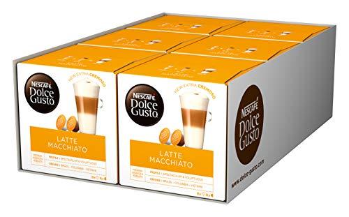 NESCAFÉ Dolce Gusto Latte Macchiato | 96 Kaffeekapseln | Aromatischer Espresso | 3-Schichten -Köstlichkeit aus feinem Milchschaum, 6er Pack (6 x 16 Kapseln)