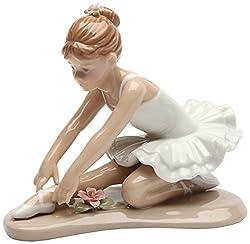 Cosmos Gifts 20865 Ballerina in White Ceramic Figurine, 3-7/8-Inch