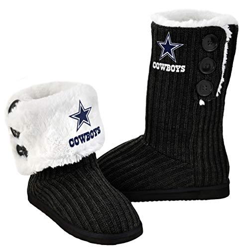 FOCO NFL Dallas Cowboys Knit High End Button Boots, Medium (7-8), Black