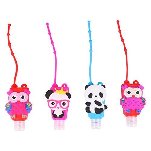 Hemoton 4 Stücke Kinder Reiseflaschen Schlüsselanhänger 30ml Silikon Flip Cap Flasche Panda Eule Leere Seifenspender Nachfüllbare Auslaufsicher Duschgel Reisebehälter für Shampoo Handgel