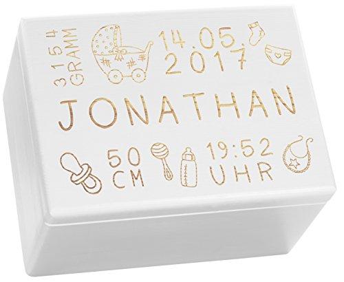 LAUBLUST Holzkiste mit Gravur - Personalisiert mit ❤️ GEBURTSDATEN ❤️ - Weiß, Größe XL - Rassel Motiv - Erinnerungskiste als Geschenk zur Geburt