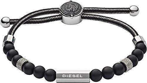 Diesel DX1151040 Pulsera Cuerda para Hombre Sin Metal, Negro