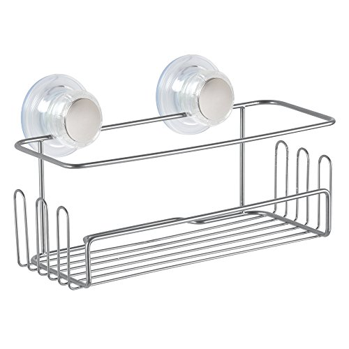 Price comparison product image InterDesign Turn-N-Lock Suction Shower Storage,  Small Shower Basket for Hanging,  Made of Metal,  Chrome
