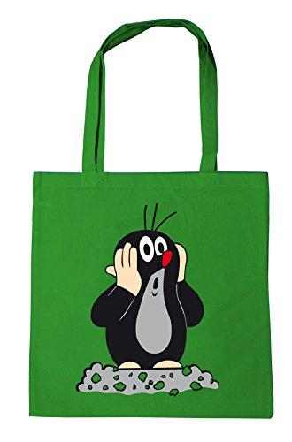 Logoshirt Der kleine Maulwurf Baumwolltasche - Stofftasche mit Druck und langen Tragegriffen - grün