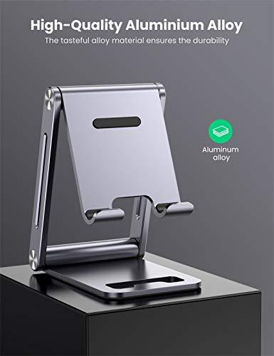 UGREEN Handy Ständer Verstellbar Aluminium Handyständer für Tisch Handyhalterung Handyhalter Schreibtisch kompatibel mit iPhone 12 11 Pro Max, Galaxy S21 S20 Ultra S10, Huawei P40 Pro, Xiaomi usw.