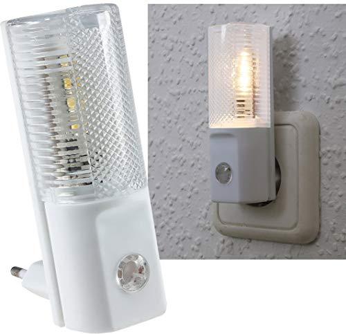 ChiliTec Veilleuse LED avec capteur jour nuit I Prise 230 V I Interrupteur dans l'obscurité I 1 pièce I 1 W Lumière blanche