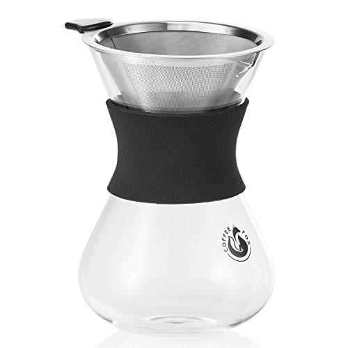 Pour Over Kaffeebereiter mit Dauerfilter aus Edelstahl Kaffee-Zubereiter und Kaffeekanne 650ml