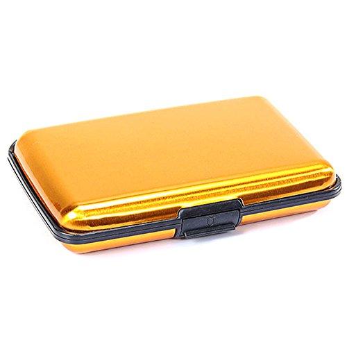 Kcopo Kreditkarten Halter Aluminium Legierung Mappen Taschen Wasserdichte Kartenbox Visitenkarten Etui Case Tasche Aufbewahrungsbox Gelb