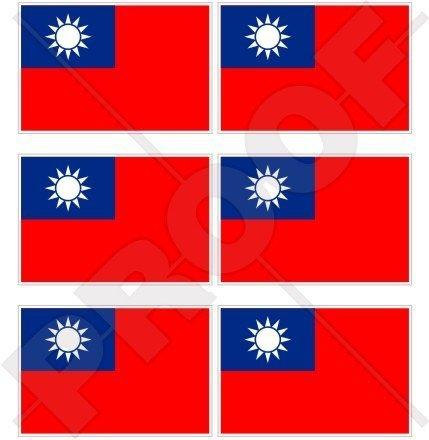 TAIWAN Taiwanesische Flagge, Fahne Republik von China,RoC 40mm Mobile, Handy Vinyl Mini Aufkleber, Abziehbilder x6 Stickers