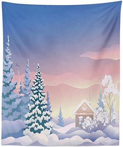 QIAO Tapiz de Escena de Invierno King Size Cabin in The Woods en Colores so?Adores Estampado Colgante de Pared Colcha Funda de Cama Decoraci¨n de la Pared