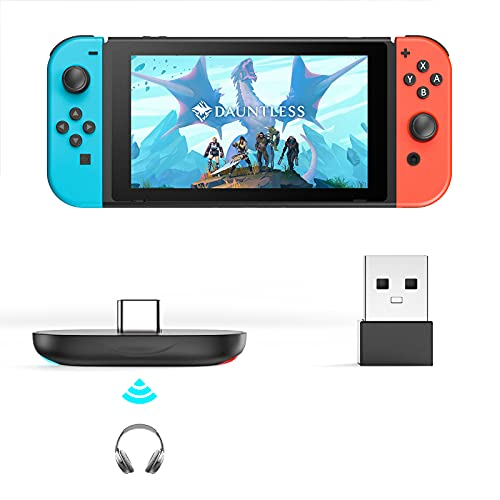 Bluetooth Adapter for Nintendo Switch /Lite, APMIEK Mini BT V5.0 Audio Transmitter with Low Latency, Easy to pair, Wireless Transmitter for PS4/ Laptop/ PC, Support Dock Mode with USB C to A Converter