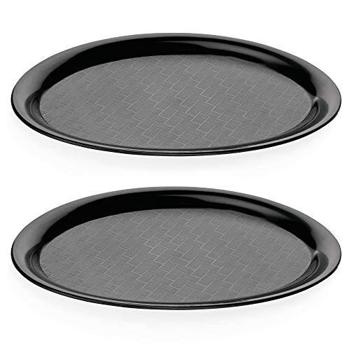 Viva Haushaltswaren - 2 x Gastro-Tablett in Schwarz, Tablett oval aus Polypropylen Kunstoff als Serviertablett / Kellner Tablett etc. verwendbar - rutschhemmend (26,5 x 19 cm)