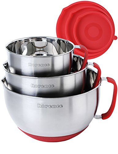 Rorence Stainless Steel Non-Slip Mixing Bowls With Pour Spout, Handle and Lid, Nesting Set of 3