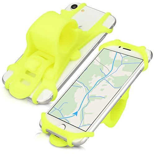 kwmobile Handy Fahrrad Halterung Universal Halter - Fahrradhalterung Handyhalterung aus Silikon für alle Fahrradlenker - Neon Gelb
