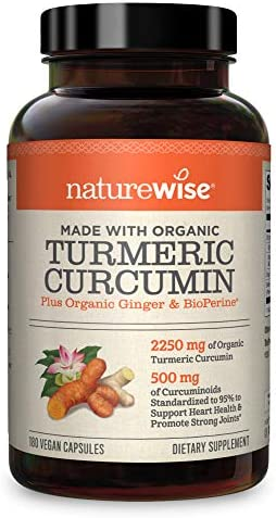 NatureWise Curcumin Turmeric 2250mg (2 Month Supply) 95 Curcuminoids with BioPerine Black Pepper Extract Advanced Absorption for Cardiovascular Health and Joint Support, Package May Vary (180 Count)