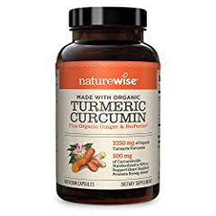 NATUREWISE ORGANIC CURCUMIN: with 95% curcuminoids packs 750mg of Organic Curcumin into each capsule. 180 capsules per bottle. At our max serving size of three capsules per day, you will receive 2250 mg of organic curcumin per daily serving ENHANCED ...