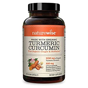 NatureWise Curcumin Turmeric 2250mg (2 Month Supply) 95 Curcuminoids with BioPerine Black Pepper Extract Advanced Absorption for Cardiovascular Health and Joint SupportVary (180 Count)