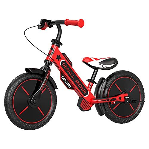 Small Rider Sports EVA, Bicicleta equilibrio da 12 pollici, Leggera, Senza pedali, Sella e manubrio regolabili in altezza, Freni x2, Per ragazzi e ragazze dai 3 anni (Rosso)