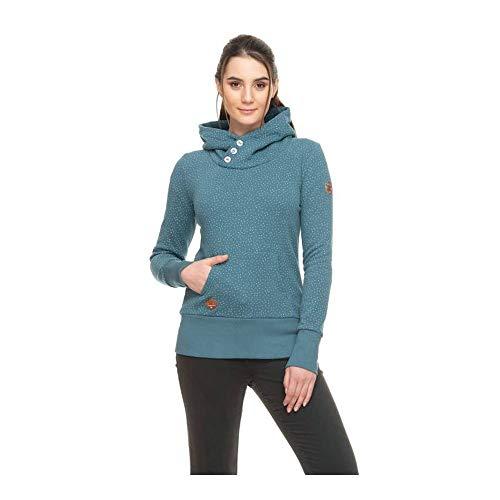 Ragwear Chelsea Drop Damen,Sweatshirt,Pullover,Hoodie,hoher Stehkragen,vegan,Knopfleiste,Seitentaschen,Baltic,S