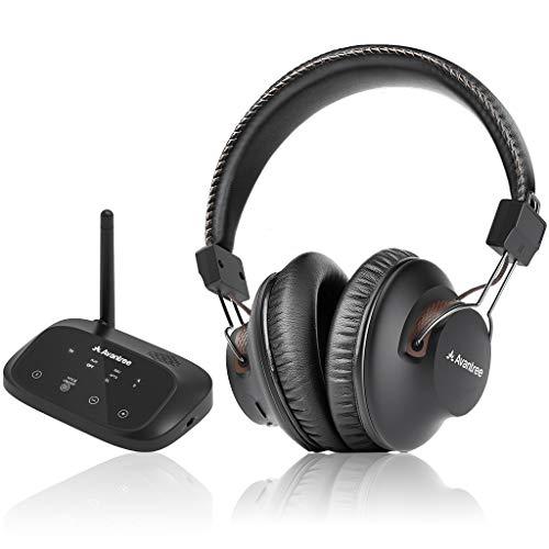 Avantree HT5009 40 Std. Akku Kabellose Funkkopfhörer für Fernseher mit Bluetooth Transmitter (OPTISCH RCA Aux), TV Bluetooth Kopfhörer Drahtlos, Plug & Play, Keine Verzögerungen mehr