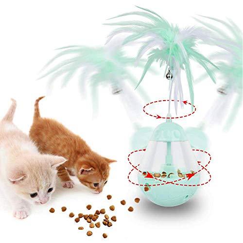 STKJ Automatisches Katzenspielzeug, 3 in 1 Treat Ball mit elektrischem rotierendem Federspielzeug, Katzenball-Futterspender und Katzentrommel-Spielzeug,Grün