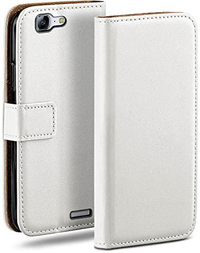 moex Klapphülle kompatibel mit Huawei Ascend G7 Hülle klappbar, Handyhülle mit Kartenfach, 360 Grad Flip Hülle, Vegan Leder Handytasche, Weiß